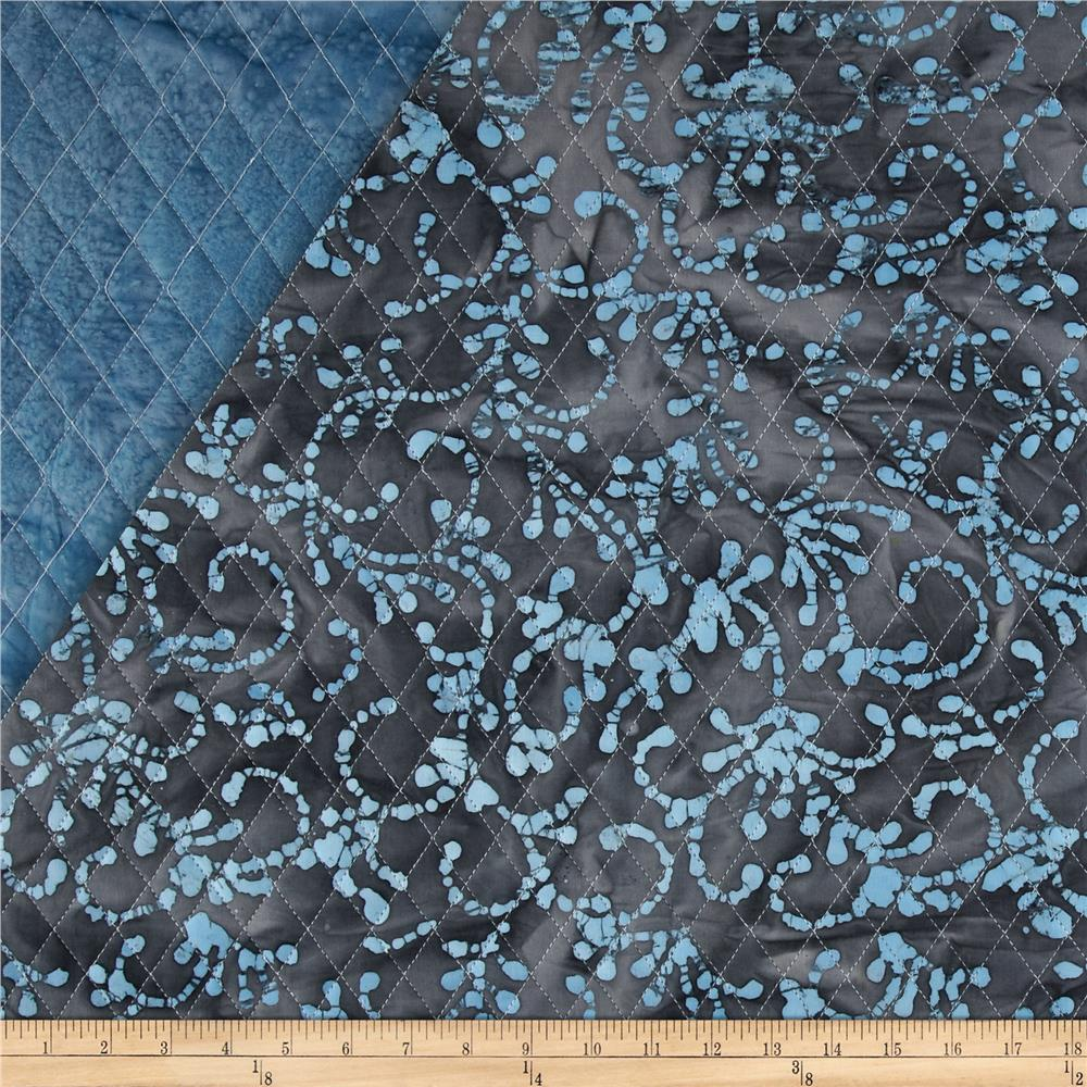 Indian Batik Double Sided Quilted Floral Scroll Lt. Blue/Taupe