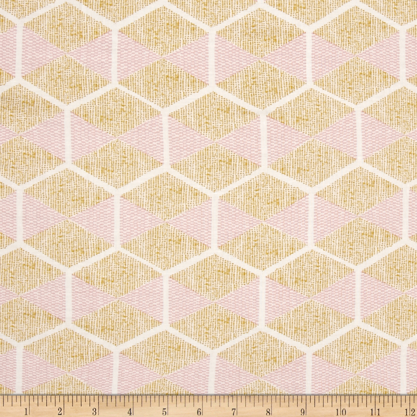 Joel Dewberry Cali Mod Rayon Challis Hexablock Gold Fabric by Westminster in USA