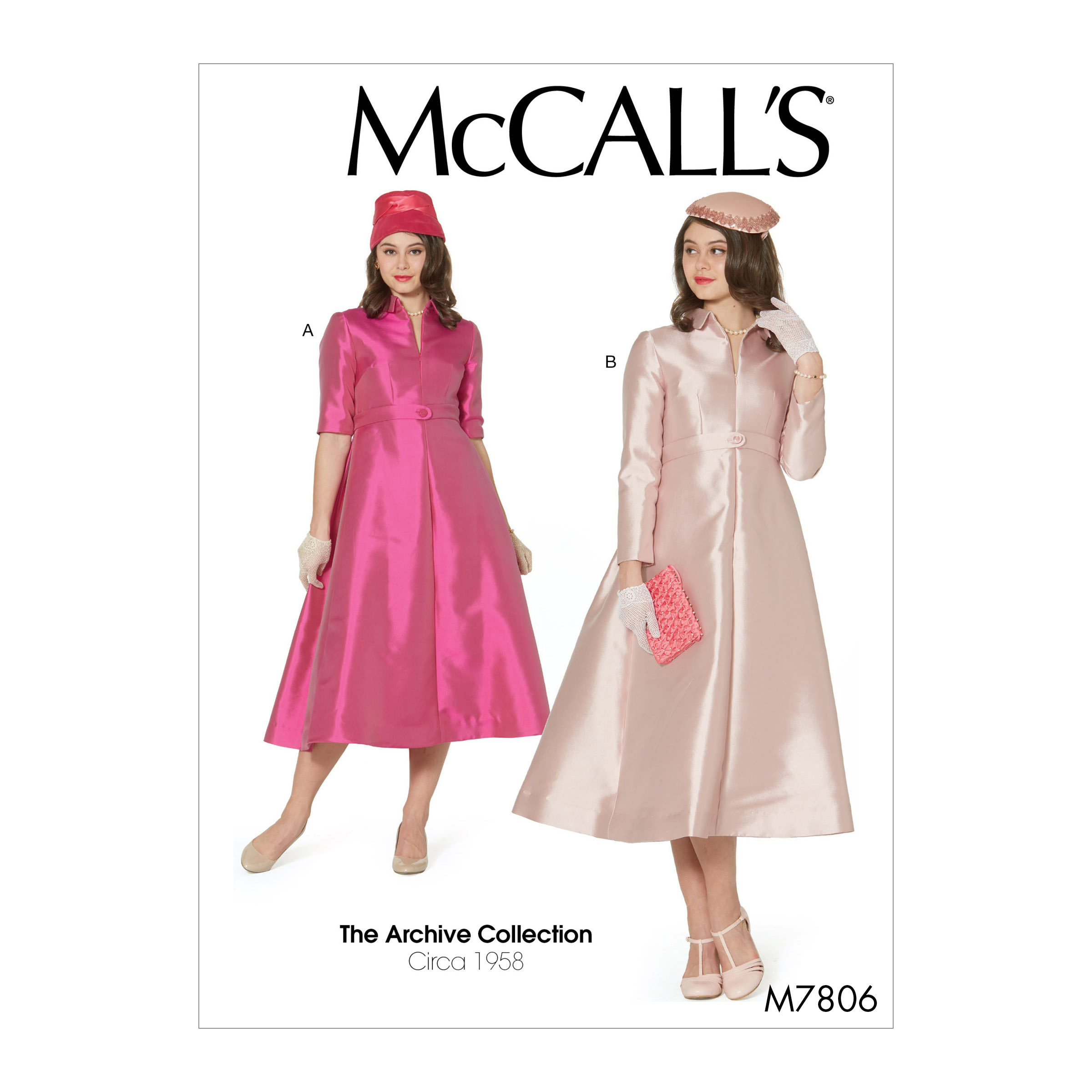 1950s Sewing Patterns | Swing and Wiggle Dresses, Skirts 1958 McCalls M7806 The Archive Collection Misses Dresses E5 Sizes 14-22 $13.17 AT vintagedancer.com
