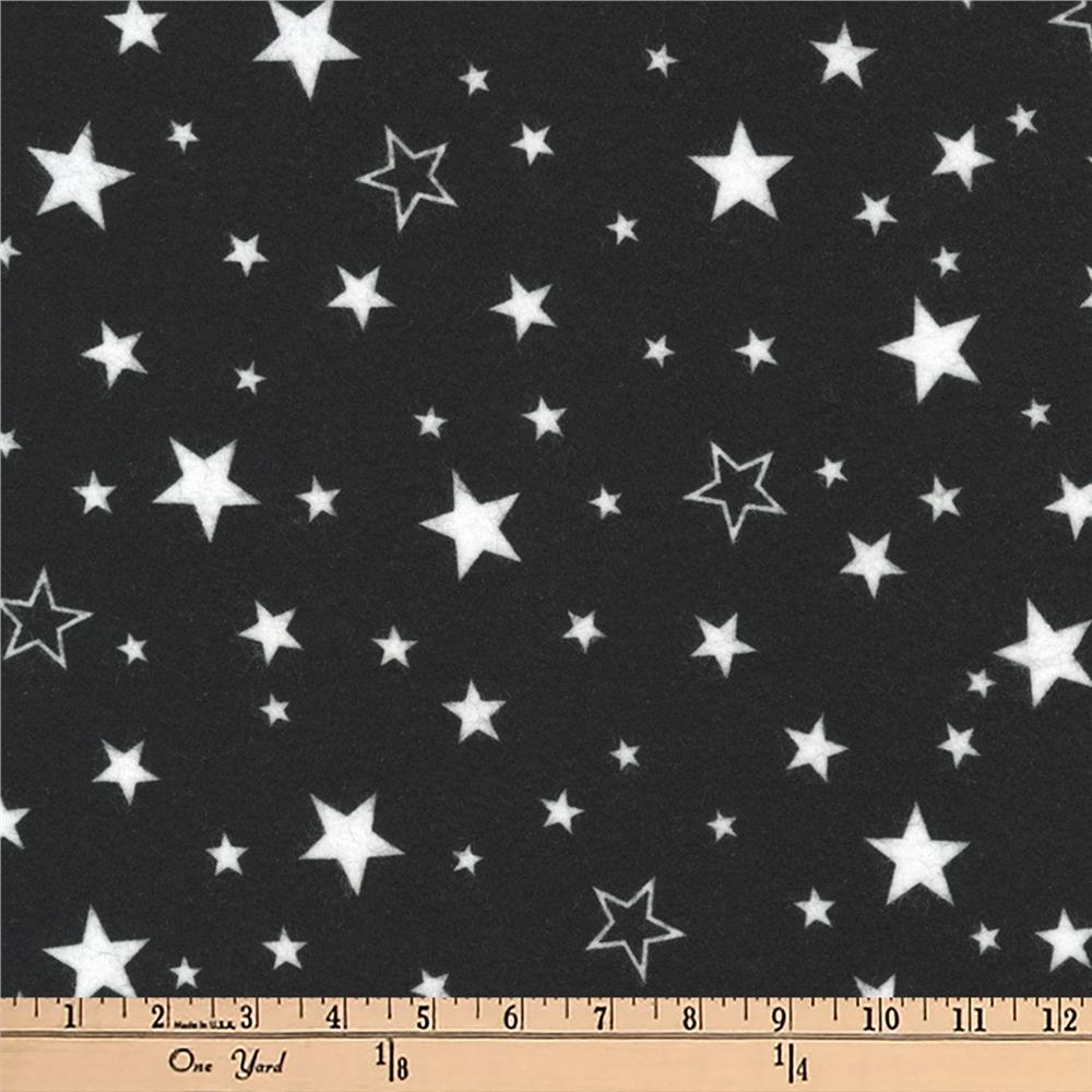 Kaufman Cozy Cotton Flannel Stars Black Fabric