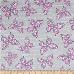 Butterfly Kisses Flannel Butterflies Grey