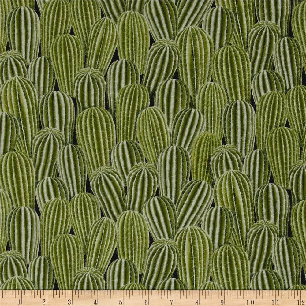 Timeless treasures out west stacked cactus cactus for Fabric cloth material
