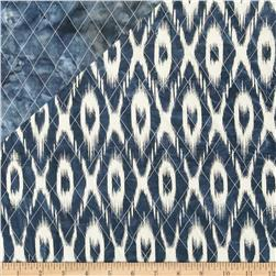 Indian Batik Double Sided Quilted Ikat Blue/Cream