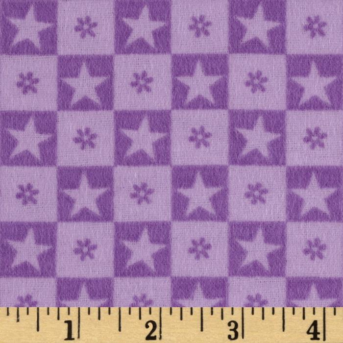Teddy Bear Princess Flannel Checkered Stars Lt. Purple