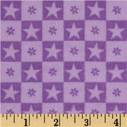 Teddy Bear Princess Flannel Checkered Stars Lt. Purple Fabric