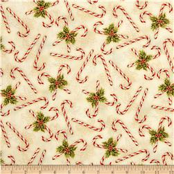 Holly Jolly Metallic Candy Cane Holiday Fabric