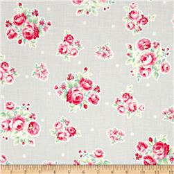 Lecien Flower Sugar Medium Floral Toss w/ White Tiny Flowers Grey