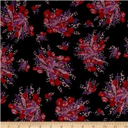 Crepe De Chine Floral Black/Magenta/Purple