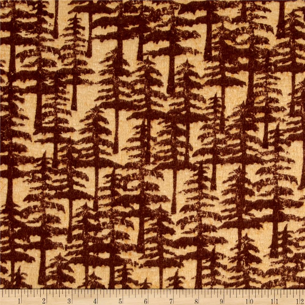 Wilderness Flannel Trees Light Brown Fabric