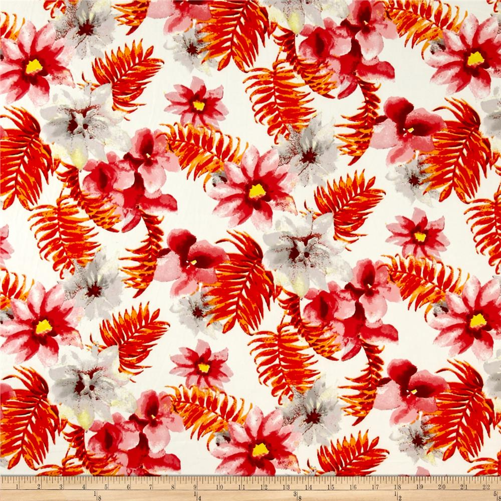 Floral Stretch ITY Prints Coral/Ivory/Yellow