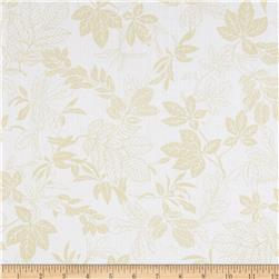 108'' Wide Quilt Back Modern Leaf White/Tan Fabric