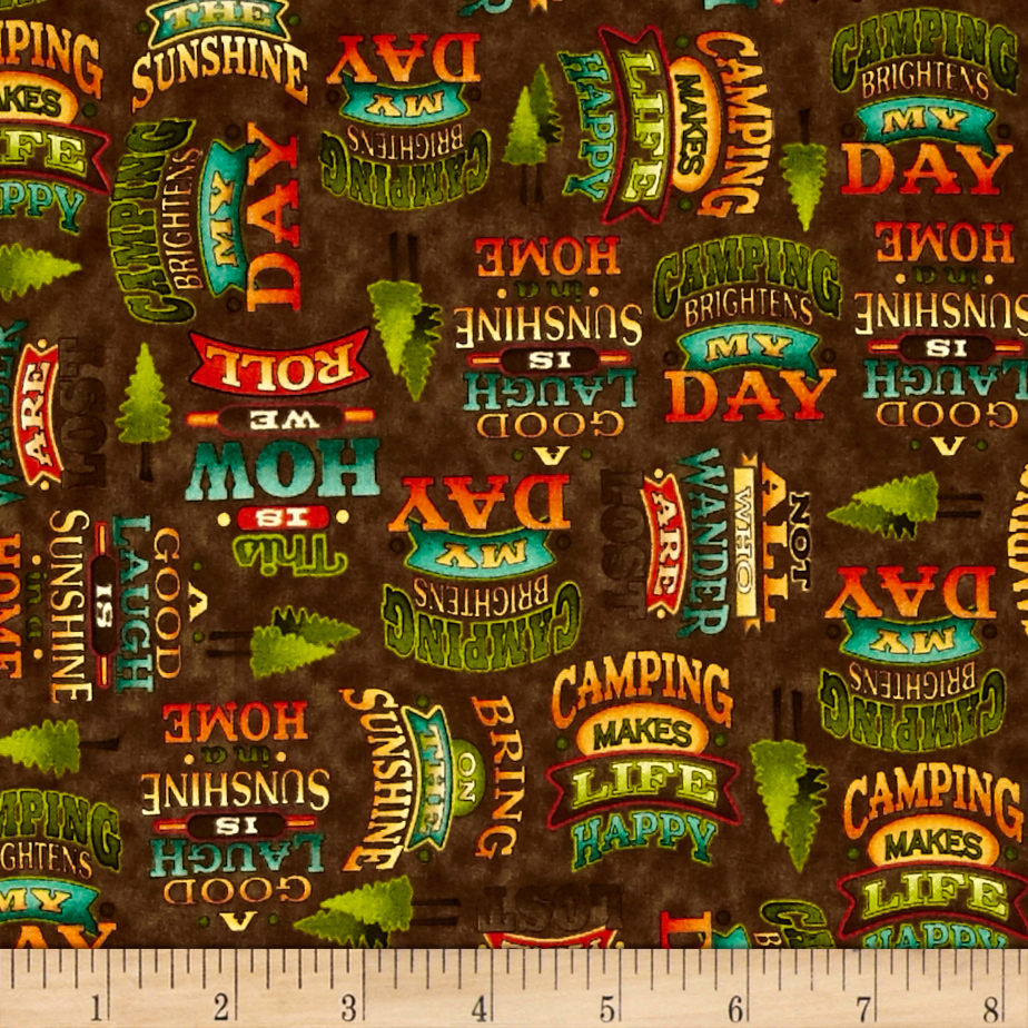 Image of Outdoor Adventure Camping Mottos Brown Fabric