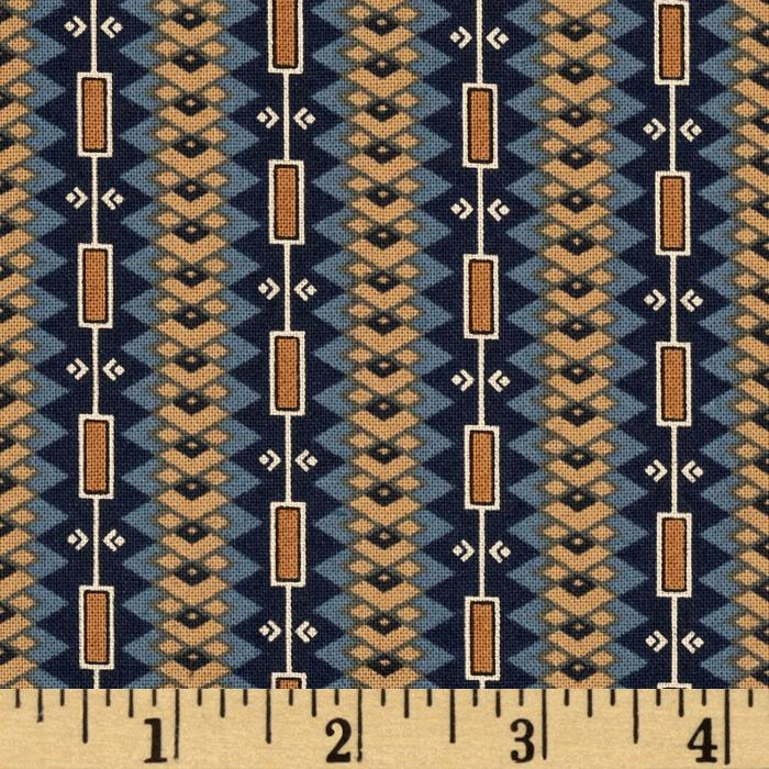 Indigo Berries Geometric Stripes Navy/Brown