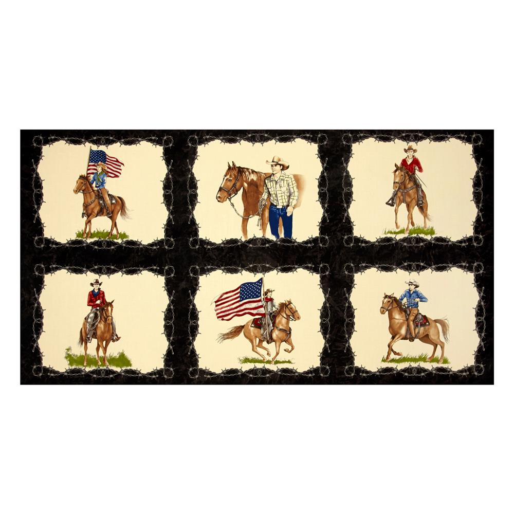 Moda Sundance Trail Cowboy 24 In. Panel Black