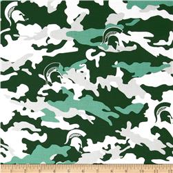 Collegiate Cotton Broadcloth Michigan State University Camouflage Green