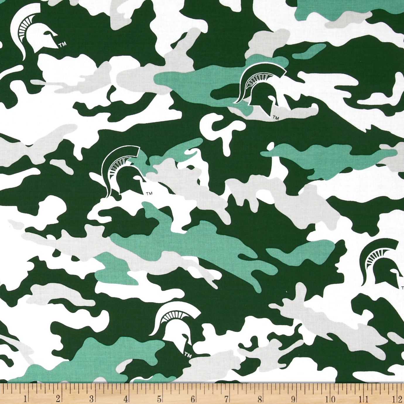 Michigan State Cotton Camouflage Green Fabric