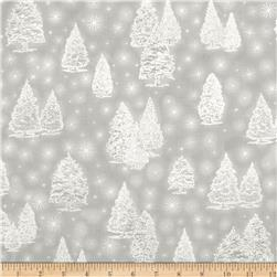 Kaufman Winter Grandeur Metallic Trees Silver