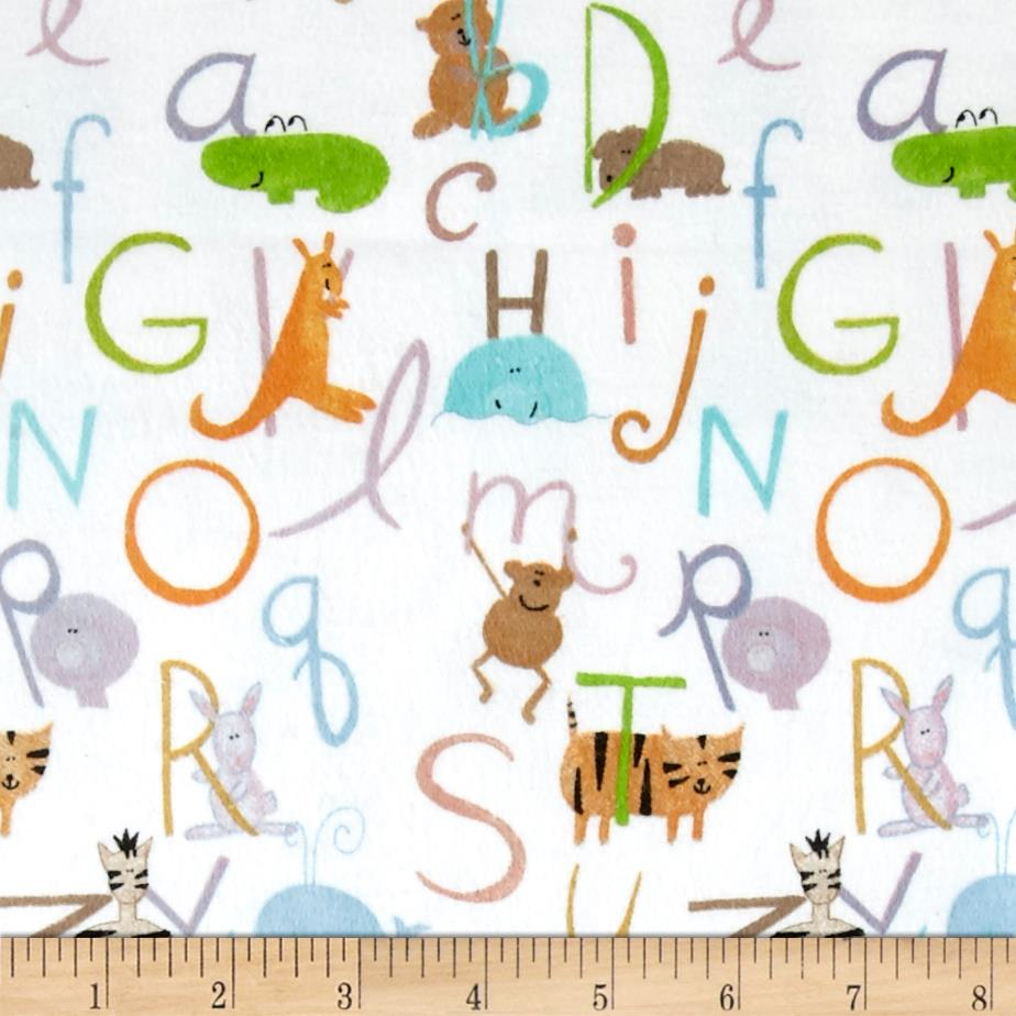 Comfy  Flannel ABC Animals White Fabric