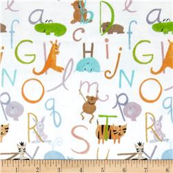 Comfy  Flannel ABC Animals White