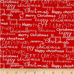 Moda Merry Scriptmas Greetings Christmas Red