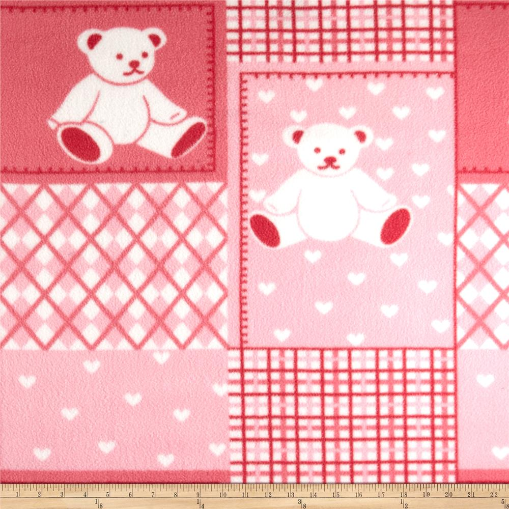 Fleece Print Teddy Bear Pink/Red