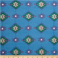 Stretch Rayon Jersey Knit Ikat Print Blue/Green