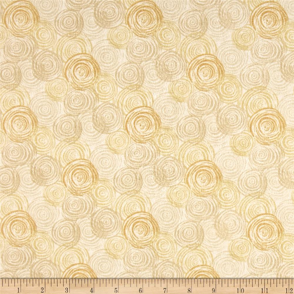 108'' Flannel Textured Circles Ivory Fabric