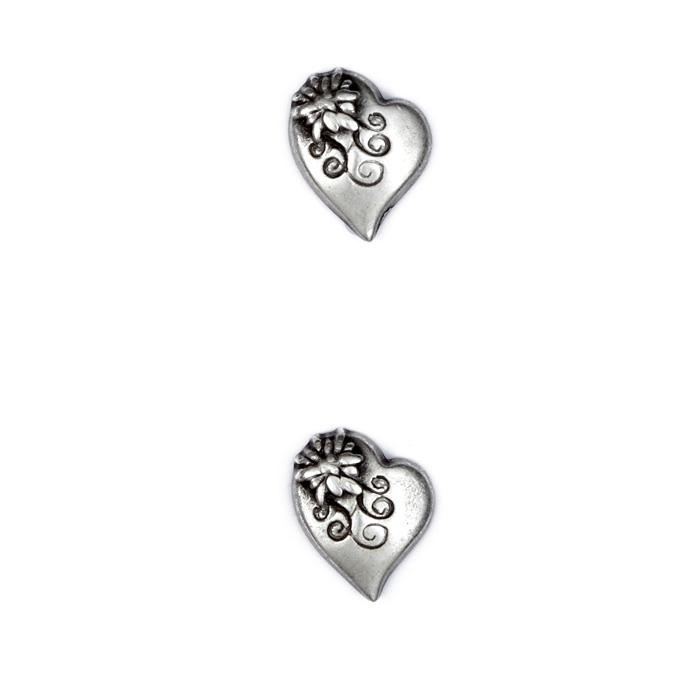 Metal Button 3/4'' Alpine Heart Antique Silver