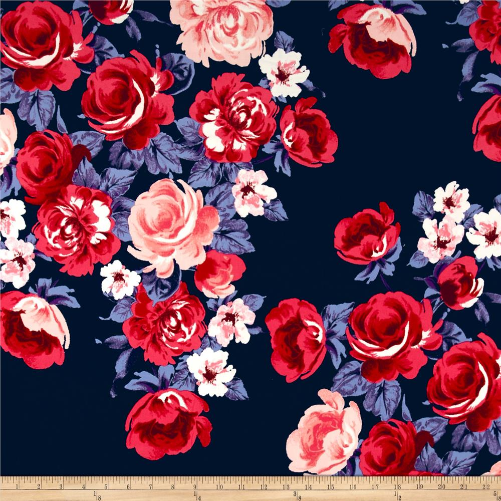 Double Brushed Poly Spandex Jersey Knit Roses Navy/Pink/Purple Fabric