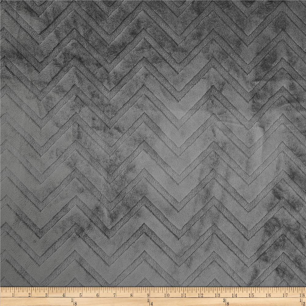 Shannon Minky Cuddle Embossed Chevron Charcoal