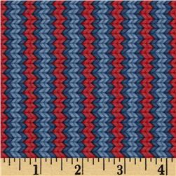 Snow Show Narrow Knitted Stripe Blue/Red