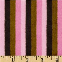 Minky Striped Cuddle Mocha/Pink