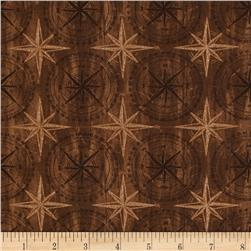 Among The Pines Compass Rose Tonal Brown