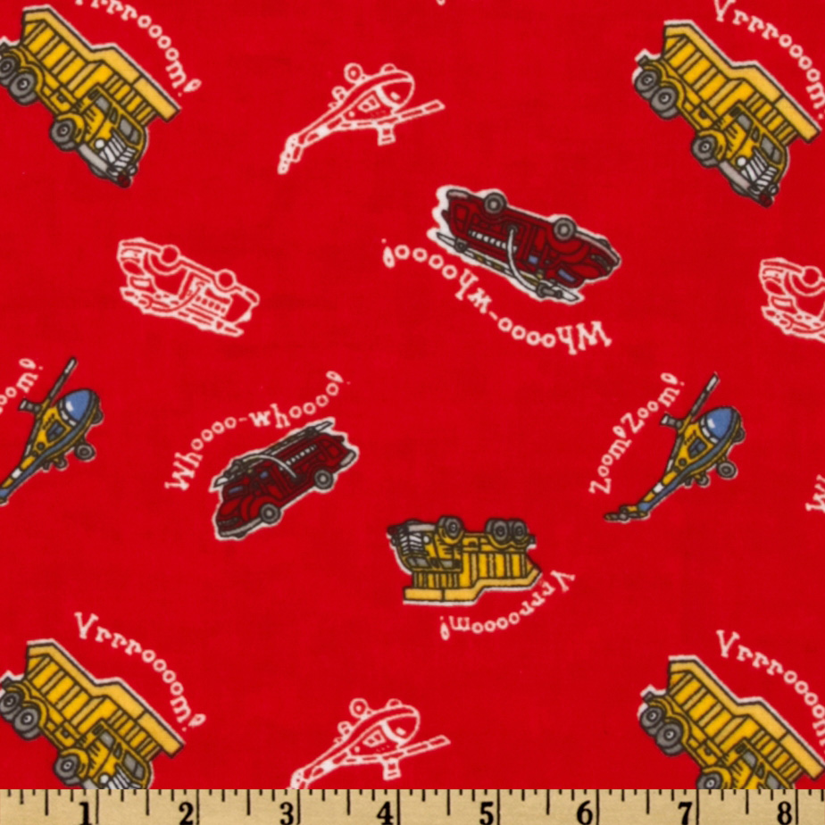 Camelot Flannel Transportation Red Fabric