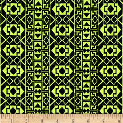 Stretch ITY Aztec Print Black/Neon Yellow