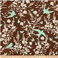 Joel Dewberry Bungalow Home Decor Sateen Swallow Study Chocolate