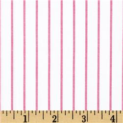 Stretch Poplin Stripes White/Pink