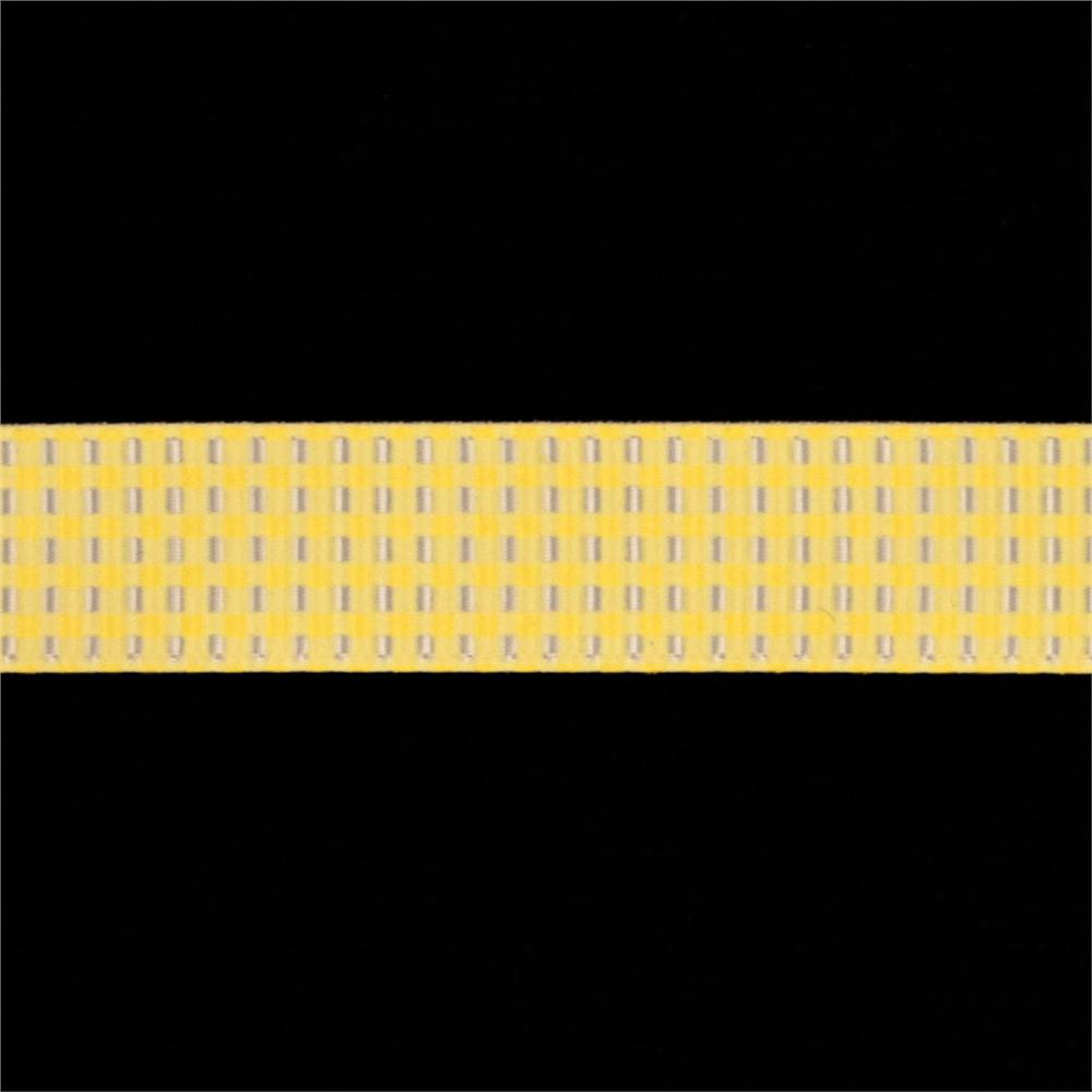 Riley Blake 5/8'' Grosgrain Ribbon Gingham Yellow