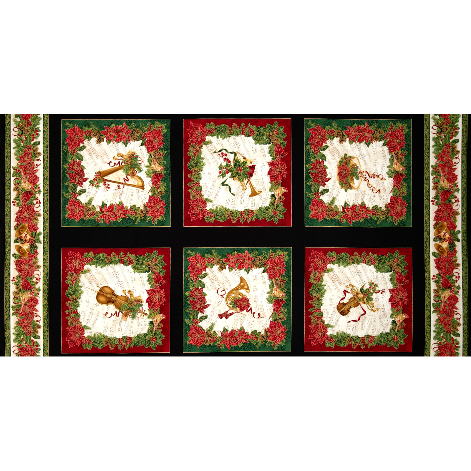 Timeless Treasures Comfort & Joy Metallic Christmas Panel