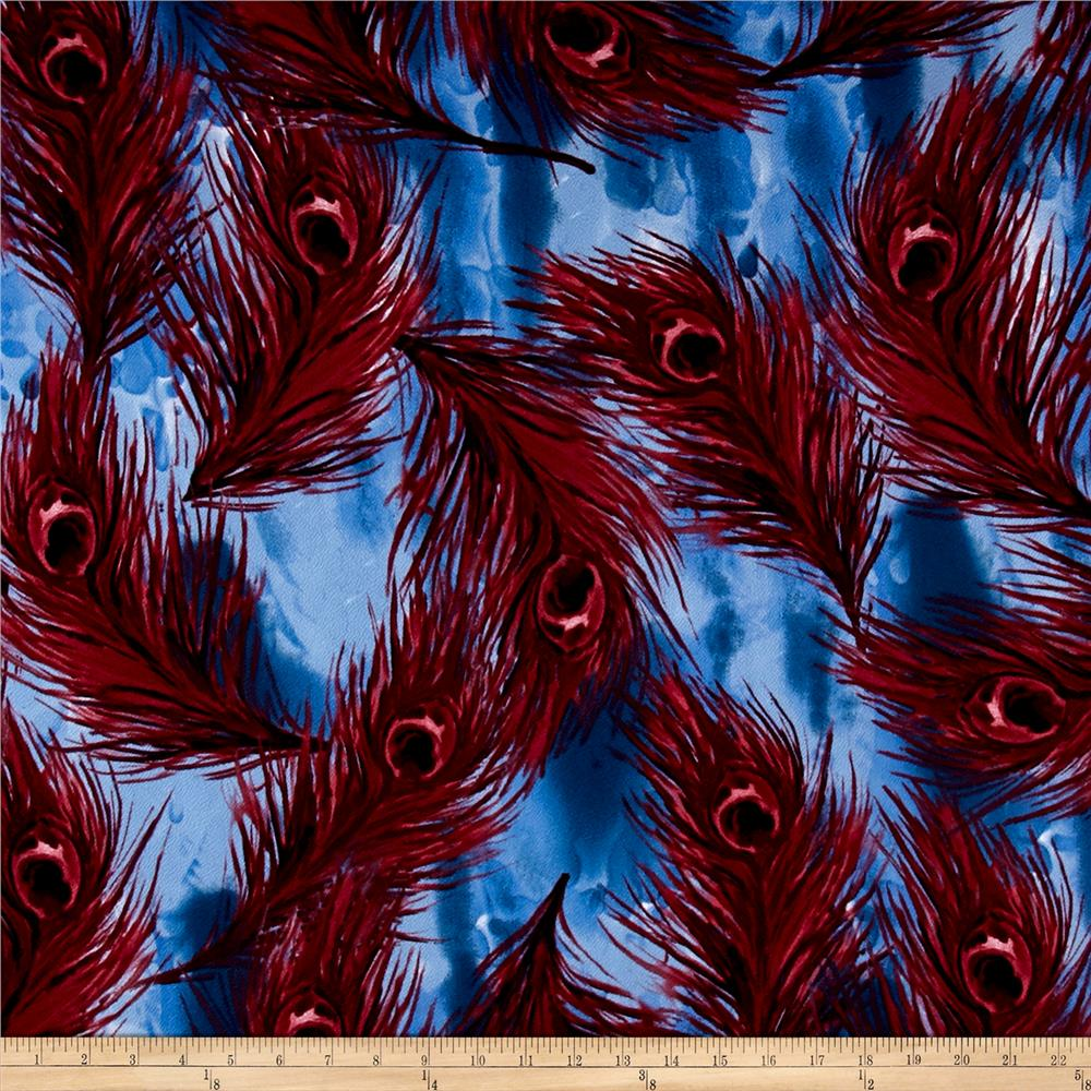 Liverpool Double Knit Abstract Feather Red/Black/Lavender/Blue