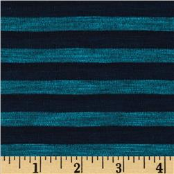 Designer Yarn Dyed Burnout Jersey Knit Stripe Jade/Navy