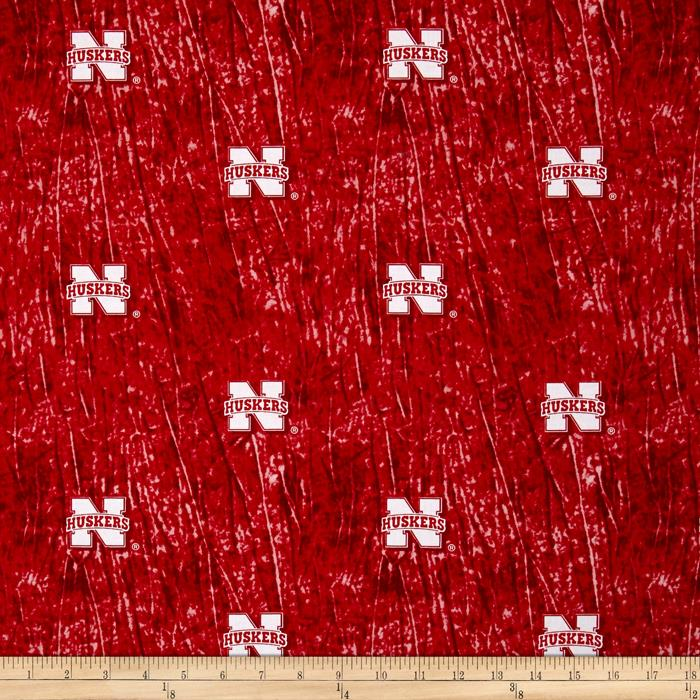 Collegiate Cotton Broadcloth University of Nebraska Tie Dye Print Red
