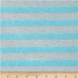 Lightweight Sweater Knit Small Baby Blue Stripes on Gray