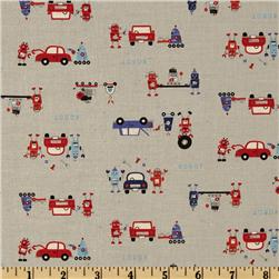 Kokka Trefle Petite Ecole Cotton/Linen Canvas Robots Red