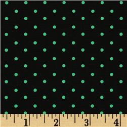 Stretch Poplin Pin Dots Black/Green