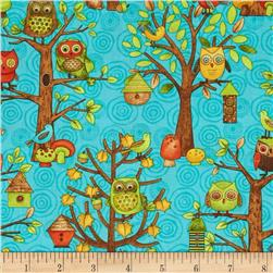 Fall Fun Owl and Bird Teal