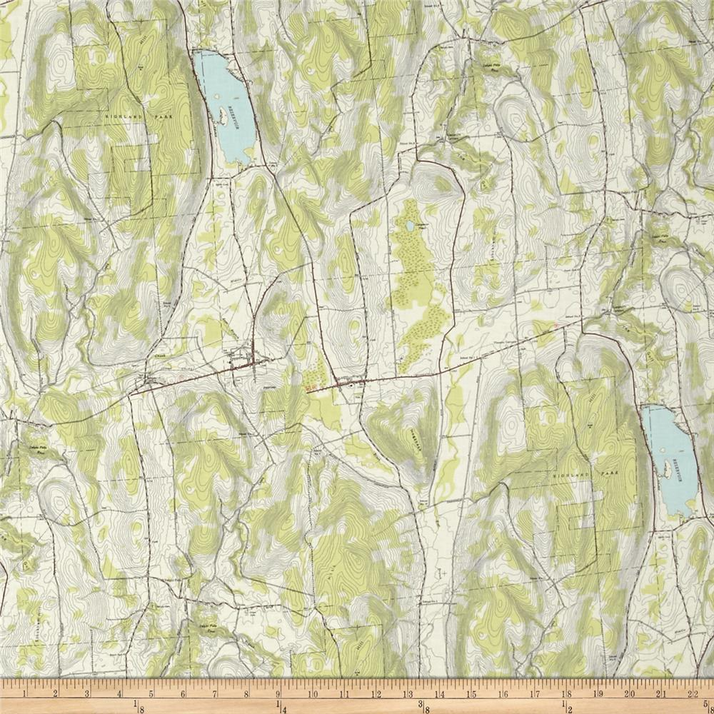 Moda Alpine Topographic Map Dew Green