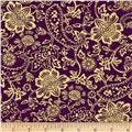 Kanvas Bohemian Rhapsody Metallic Tapestry Floral Wineberry