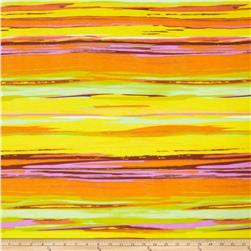 Soft Jersey Knit Abstract Sunset Stripe Yellow
