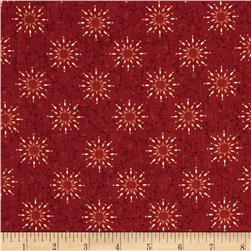Heritage Hollow Star Vine Red Fabric